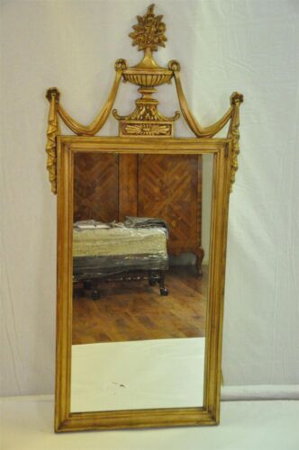 Antique Large Neoclassical Gold Mirror with Urn and Swagged Drapes, c. 1900's