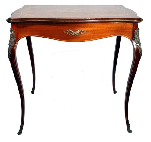 French Louis XV Style Inlaid Burl, Kingwood, Rosewood Marquetry Parlor Table