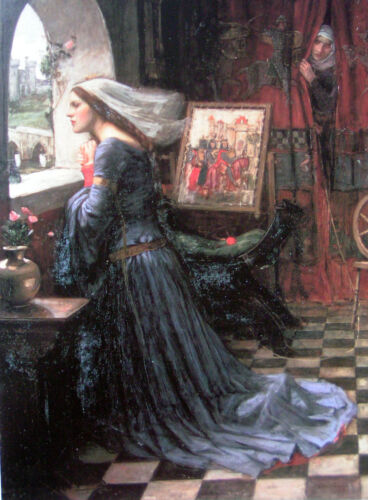 """Oil painting Waterhouse - Fair Rosamund Young woman by the window canvas 36"""""""