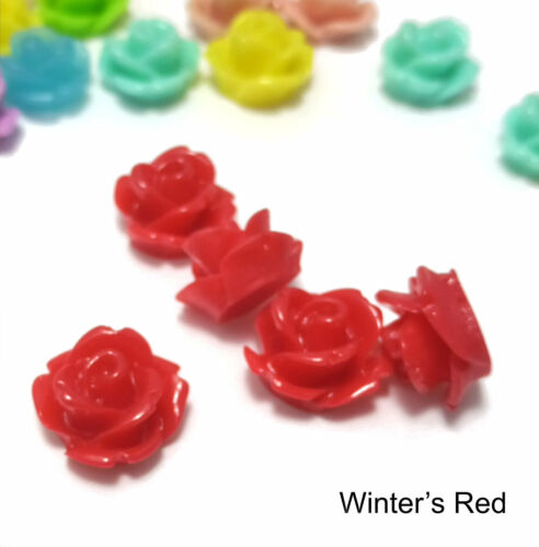 20 Rose Cabochon Cherry Ripe Red Roses Resin Retro Flower 11mm Gorgeous Flatback