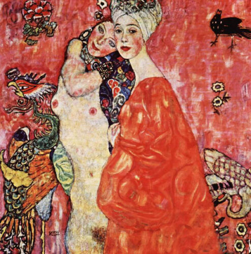 Wonderful Oil painting Gustav Klimt - Girlfriends lovers portrait canvas Lesbian