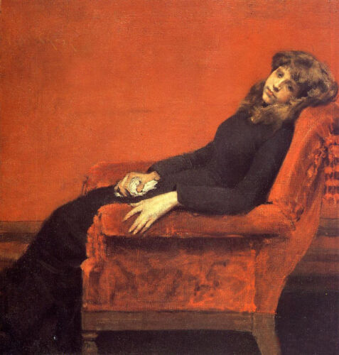 Dream-art Oil painting William Merritt Chase - Young girl seated on sofa canvas