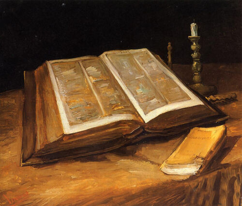 Beautiful art Oil painting Vincent Van Gogh - Still Life with book Bible canvas