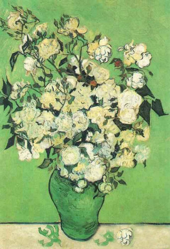 Stunning art Oil painting Vincent Van Gogh - Roses flowers in vase canvas