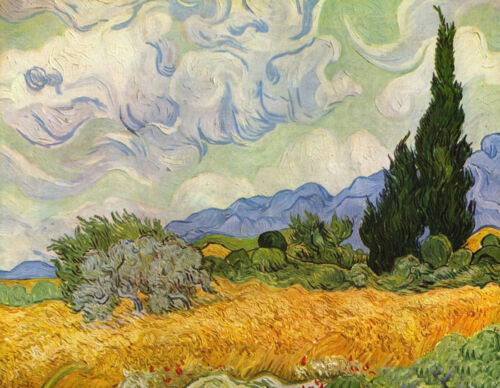 Oil painting Vincent Van Gogh - wheat field with cypresses landscape canvas