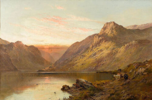 Dream-art Oil painting Highland cattle beside loch cows by lake in sunset canvas