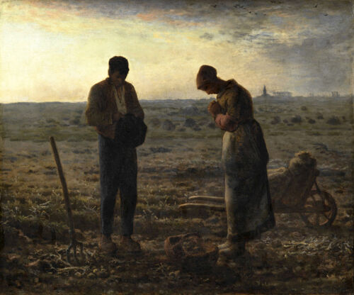 Fine Oil painting The Angelus Peasant couple in field in sunset landscape canvas