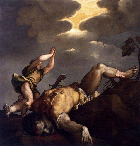 Dream-art Oil painting Tiziano Vecellio - David and Goliath in field hand paint
