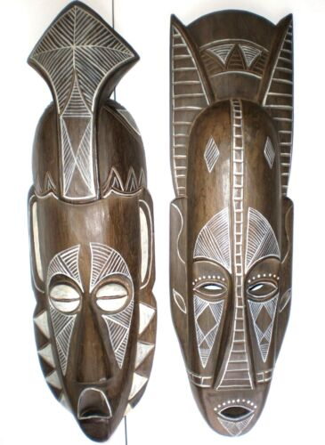 TRIBAL MASKS SET 2 WALL ART HANGING AFRICAN STYLE WOOD CARVING BALINESE 50CM
