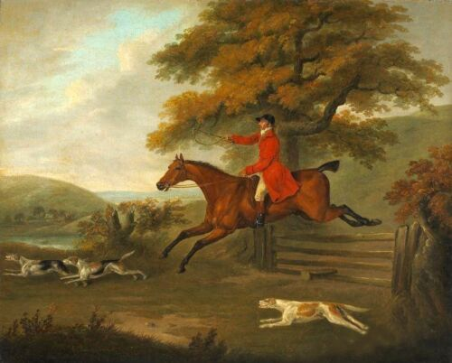 Oil painting portrait of gentleman ride horse hunting & dogs canvas hand painted