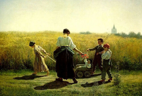 """Dream-art Oil painting mother with children in wheat landscape on canvas 24""""x36"""""""