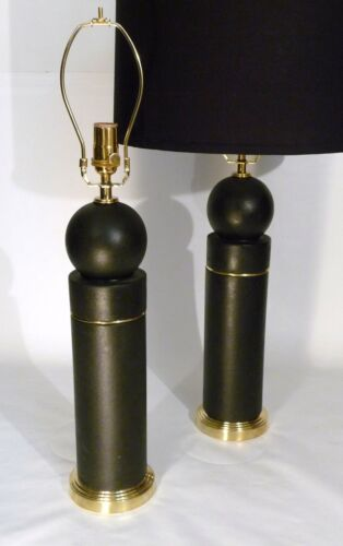 PR ART DECO / BAUHAUS CERAMIC / BRASS  BULBED CYLINDER  FORM TABLE LAMPS LIGHTS