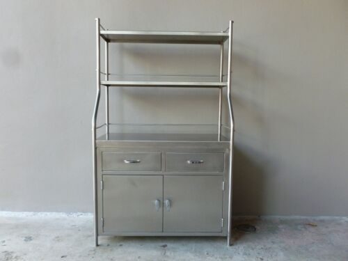 VINTAGE SHAMPAINE CO. STAINLESS STEEL SURGICAL CABINET GOOD 4 KITCHEN / BATHROOM