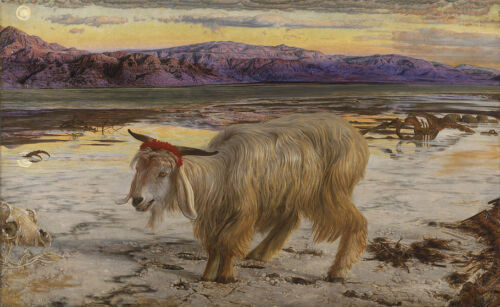 Huge Oil painting Scapegoat Troubled goat in sunset landscape HAND PAINTED ART