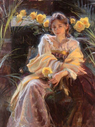 Dream-art Oil painting young beauty girl seated with yellow roses in white dress