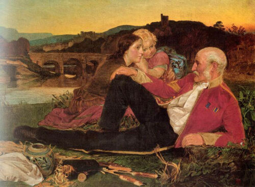 Stunning Oil painting happy family mother father and daughter in Autumn sunset