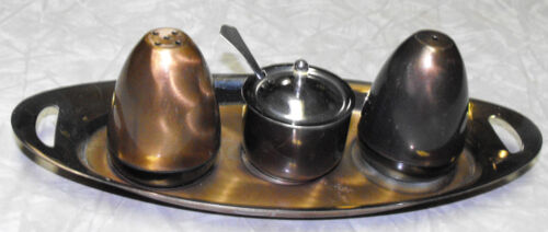 VINTAGE HAND FINISHED SILVERPLATED SALT & PEPPER SHAKERS W/ MUSTARD POT & TRAY