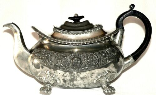 Teapot, pewter, Dixon & Son, Empire, UK Tudor rose, shamrock, thistle, c1830