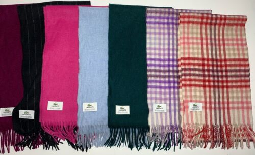 Lacoste Cashmere & Wool Strawberry Check Scarf