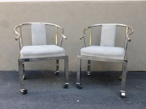 PAIR RARE CHIC DESIGN INSTITUTE  AMERICA CHROME MING CHAIRS STYLE OF JAMES MONT
