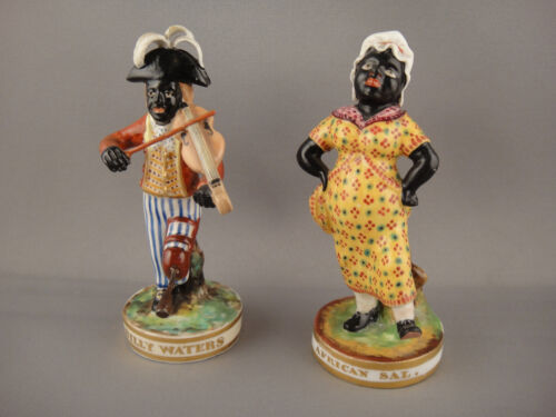 Pair of Derby Figurines Billy Waters African Sal. English Circa 1825