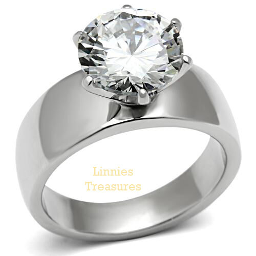 Solitaire Engagement Ring Stainless Steel Round AAA Grade Clear 10mm CZ