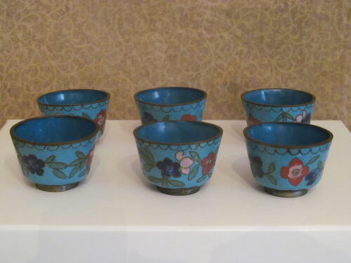 Small Antique Chinese Cloisonne Cups Set of 6