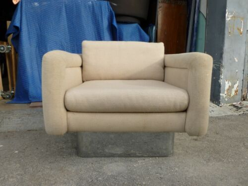 LUXURIOUS  CLUB CHAIR MANNER OF MILO BAUGHMAN, PACE WITH FAT CHROME BASE