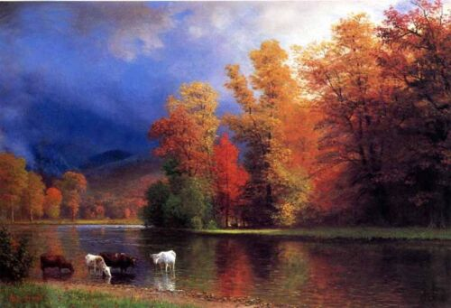 """Dream-art Oil painting On the Saco cows in autumn landscape by river canvas 36"""""""