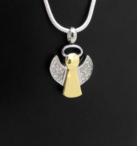 Silver & Gold Diamond (cz) Winged Angel Memorial Cremation Urn Pendant Jewellery