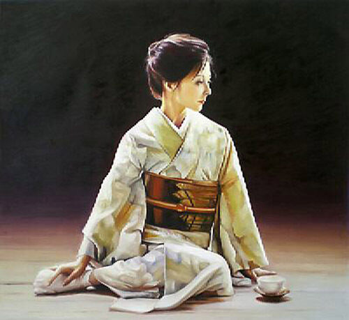 Dream-art Oil painting female portrait young Japan Japanese woman seated canvas