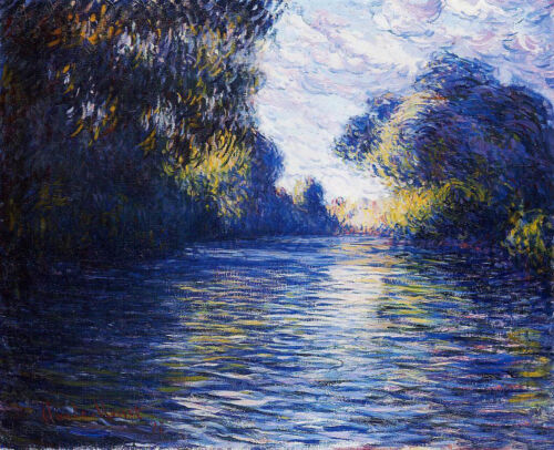 Oil painting Claude Monet - Morning on the Seine impressionism landscape canvas