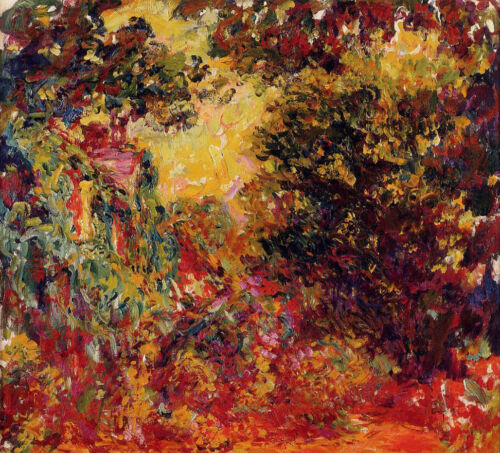 Oil painting Claude Monet - The Artist's House Seen from the Rose Garden canvas