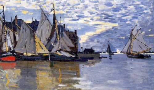 Beautiful Oil painting Claude Monet - Sailboats in sunset harbor landscape