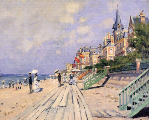 Dream-art Oil painting Claude Monet - The Boardwalk at Trouville people by beach