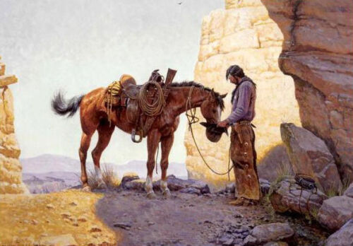 Dream-art Oil painting male portrait cowboy with his horse in summer mountains