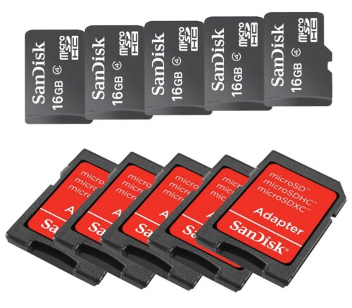 SANDISK 16GB MicroSD MicroSDHC SDHC MEMORY CARD ADAPTER 16G WHOLESALE LOT 5