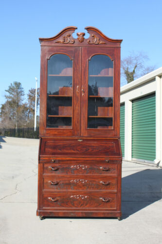 Gorgeous Tall Victorian Rococo Flame Mahogany Secretary Desk Bookcase ~Ca.1860