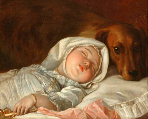 Oil painting Michel Honore Bounieu - Sleeping child guarded by a dog on canvas