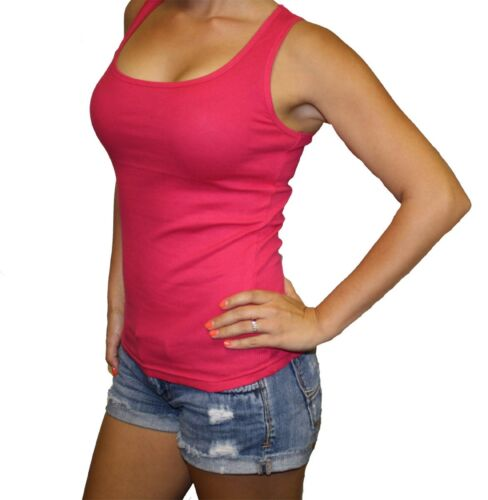 WOMEN'S SOFRA 100% COTTON RIBBED RIB  A-SHIRTS Tank TOP Only $5.29