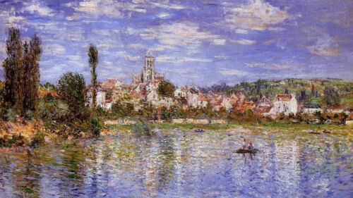 Dream-art Oil painting Claude Monet Vetheuil in Summer people boating no framed