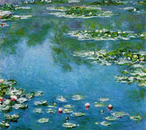 Dream-art Oil painting Claude Monet - Water-Lilies flowers in pond hand painted