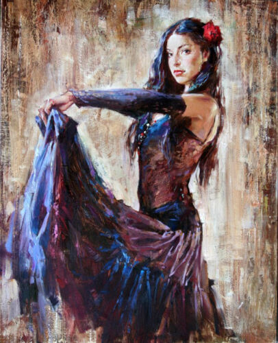 Dream-art Oil painting beautiful young girl dancer in dress free shipping cost