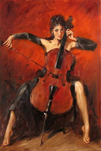 Dream-art Oil painting nice young girl playing cello red-symphony Hand painted