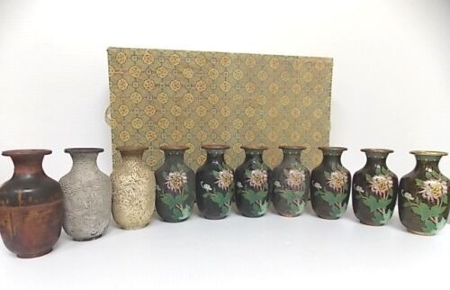 ULTRA RARE VINTAGE CHINESE STAGES OF CLOISONNE VASES W/ GOLD
