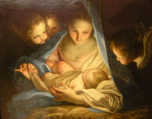 Oil painting Carlo Maratta - Holly Night Madonna Mary with child angels canvas
