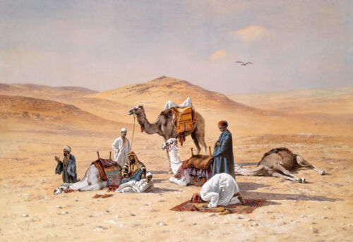 Huge oil painting Arabs with their camels Worship in the desert free shipping