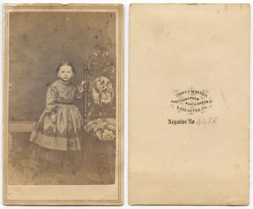 YOUNG GIRL W/ ORNATE CHAIR BY CUMMINGS LANCASTER, PA, ANTIQUE CDV