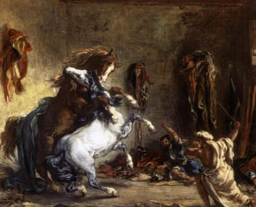 Excellent Oil painting Delacroix, Eugene - Arab Horses Fighting in a Stable