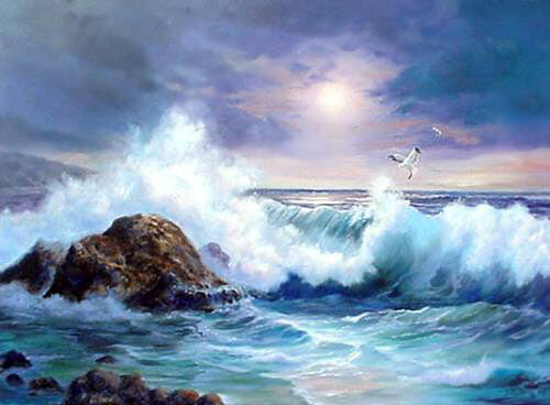 Dream-art Oil painting seascape ocean waves with rock sea birds in sunset 36""